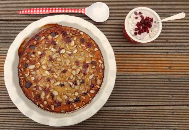 Cherry and Almond Clafoutis with Lemony Coconut Whipped Cream